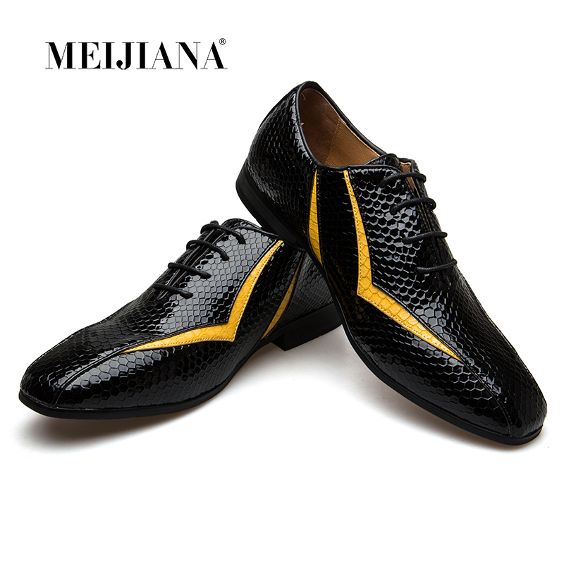 MEIJIANA 2018 New Genuine Leather Shoe For Men Oxfords Shoes Brand Banquet Shoes