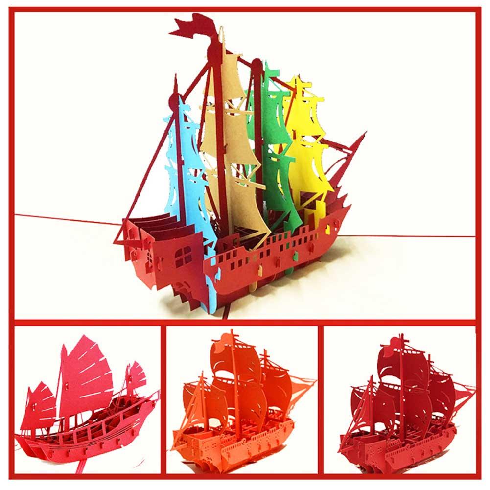 3d Handgemachte Segelboot Pop Up Origami Papier Laser Cut Grußkarten Geburtstag Weihnachten Jahrestag Postkarten Office & School Supplies