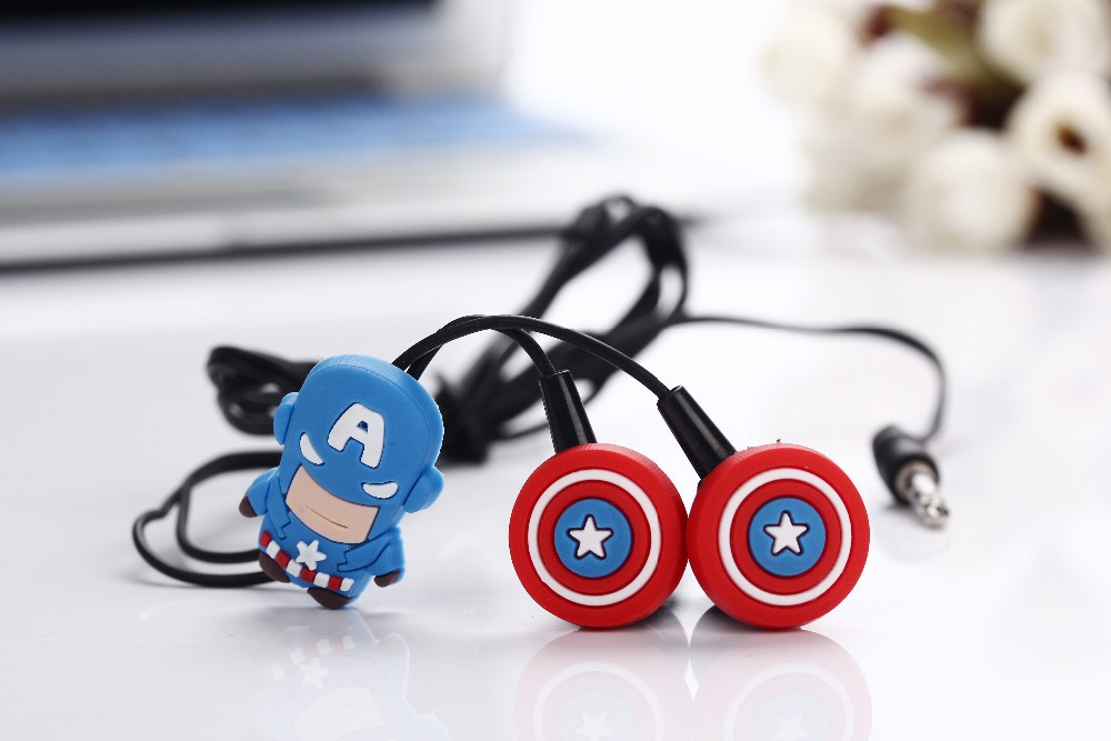 Headphone Cartoon Batman in-ear Earphone Headset Cute Superman Earphones Earbuds for iPhone Cellphone Mp3 for Android & iOS cute cartoon cat claw style in ear earphones for mp3 mp4 more blue white 3 5mm plug