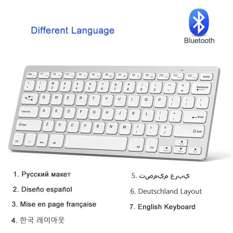 Portable Spanish Keyboard Wireless Bluetooth Russian French Arabic German Korean Keyboard Bluetooth For IOS Android Windows PC quwind german keyboard bluetooth wireless keyboard for ipad pc notebook laptops for ios and android white