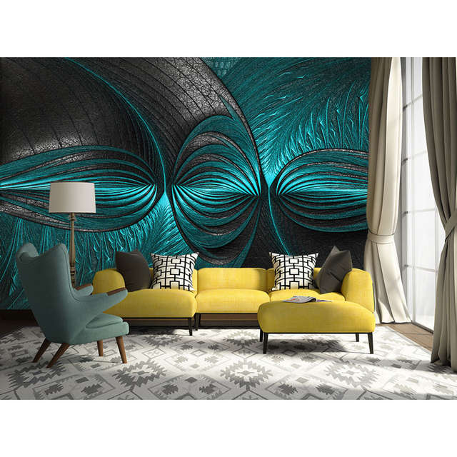 Modern 3D Wall Papers Turquoise Green Wall Painting Photo Wallpaper Mural  Living Room Bedroom Self Adhesive Vinyl/Silk Wallpaper