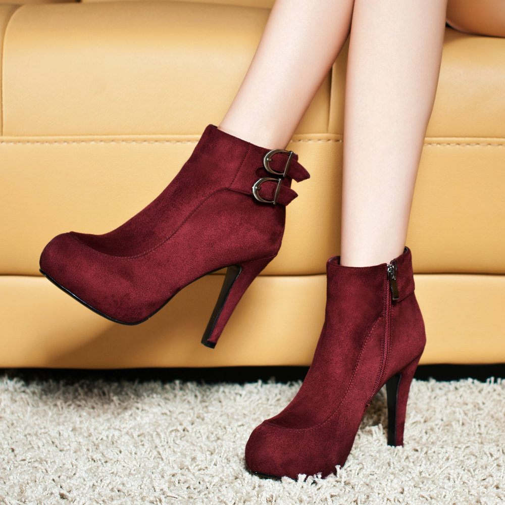 3288c69414 fashion ladies ankle boots high heels Sheepskin women's short booties  autumn winter ankle boots shoes woman dress shoes women