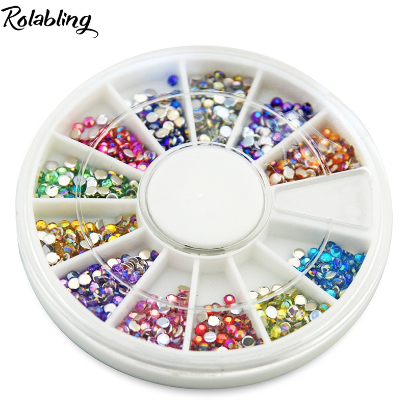 Rolabling gel nail decoration 2*2mm round Nail Gem Stones mix color Flatback Non Hot Fix rhinestone for nail art glitter Nail от Aliexpress INT