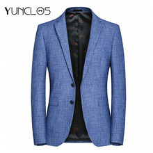 YUNCLOS, европейский размер, новинка, мужской пиджак, формальный, деловой, блейзер, мужской, 2 пуговицы, элегантный, приталенный, пиджак