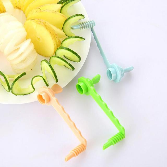 NEW Kitchen DIY Vegetables Potato Cutter cuke Carrot Spiral Slicer Cutting Modes Cooking Tools Fruit Manual slicing knife 3