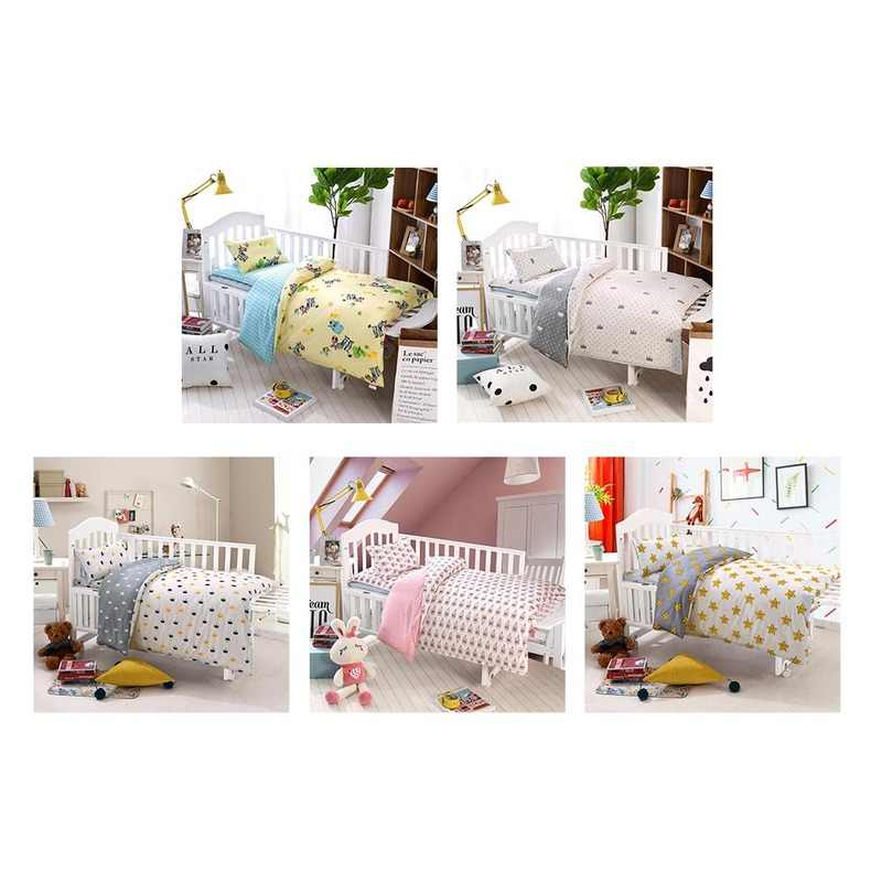 MrY Bedding Sets Cotton Crib Bed Linen Kit Cartoon Baby Bedding Set Includes Pillowcase Bed Sheet Duvet Cover Without Filler