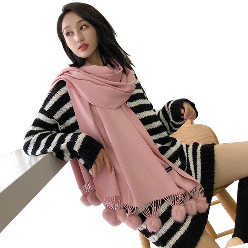 Real Rabbit Fur Pompom Winter Scarf Ladies Student Cashmere Shawl Pink Scarves Poncho Soft Warm Pashmina Scarf Luxury Brand