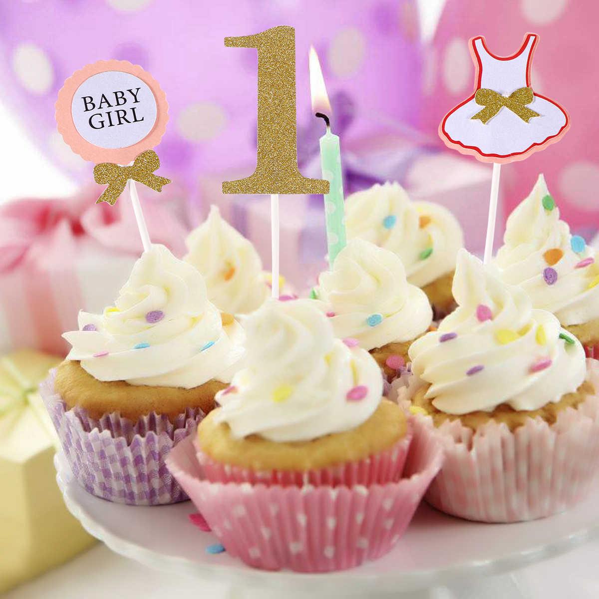 3 Pcs Cake Topper Bendera Bayi Anak Laki Laki Anak Perempuan 1 Tahun Usia Selamat Ulang Tahun Kue Untuk Kue Dekorasi Pesta