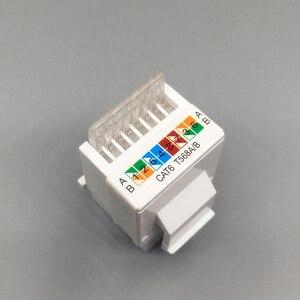 Image 2 - CAT6 RJ45 הכנס Keystone Gigabit LAN מצמד תקע סטנדרטי T568A/B רשת מודול חריץ עבור שקע אינטרנט Ethernet מחבר