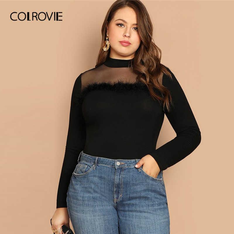 COLROVIE плюс размер черная однотонная сетчатая Корейская футболка из искусственного меха женская одежда 2019 Весенние футболки с длинными рукавами винтажные женские топы