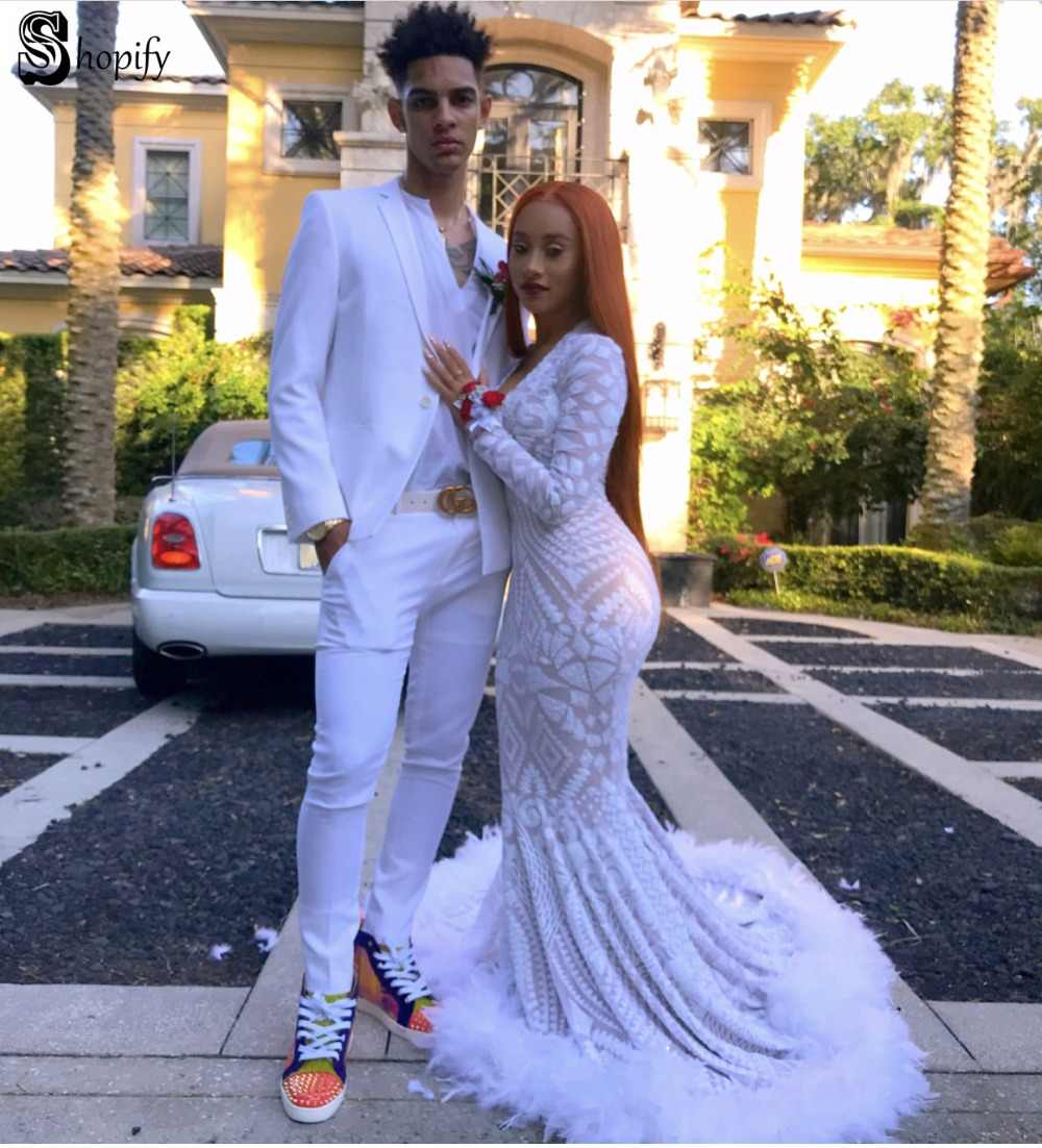 Long Elegant Prom Dresses 2019 Sexy Mermaid V,neck Long Sleeve Sequin  African Feather White Ladies Prom Dress