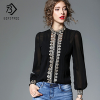 2018 Spring Women Blouse Shirt High Collar Embroidery Lace Hollow Out Sexy Blusas Two Piece Lantern