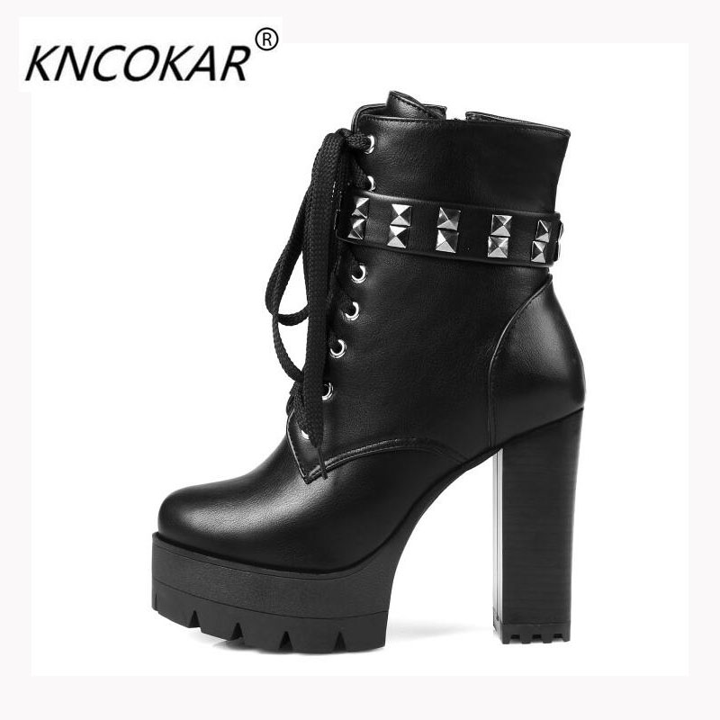 KNCOKAR The new autumn/winter fashion ultra high heels and short boots with a waterproof platform Martin rivet and female boots autumn and winter short cylinder boots with high heels boots shoes martin boots women ankle boots with thick scrub size35 39