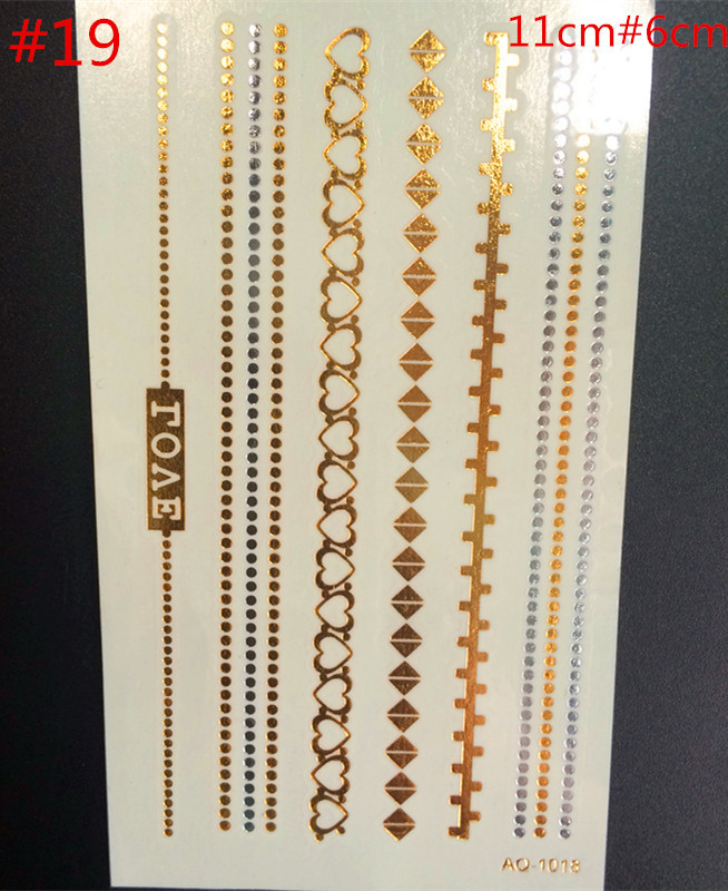 2015sex of human body art tattoo stickers shiny metallic gold and silver temporary flash disposable indians  tattoo