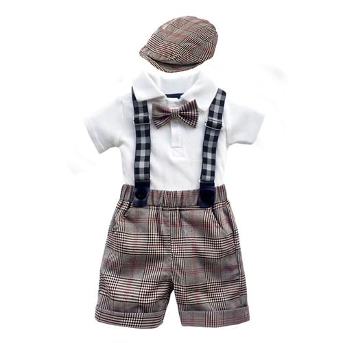 Boys 4PC Clothing Set cotton Romper White grid Shorts overalls Baby Suit 0-2 Years Summer Newborn Children Clothes suit boy sets