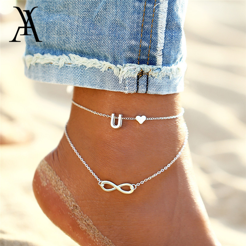 Fashion DIY Letter Ankle Bracelets For Women Bohemian Heart Name Anklets Charm Multiple Layers Leg Chain Boho Beach Jewelry Gift