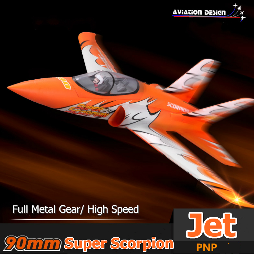 FMS RC Airplane 90mm Ducted Fan EDF Jet Super Scorpion Orange Red High speed Big Scale