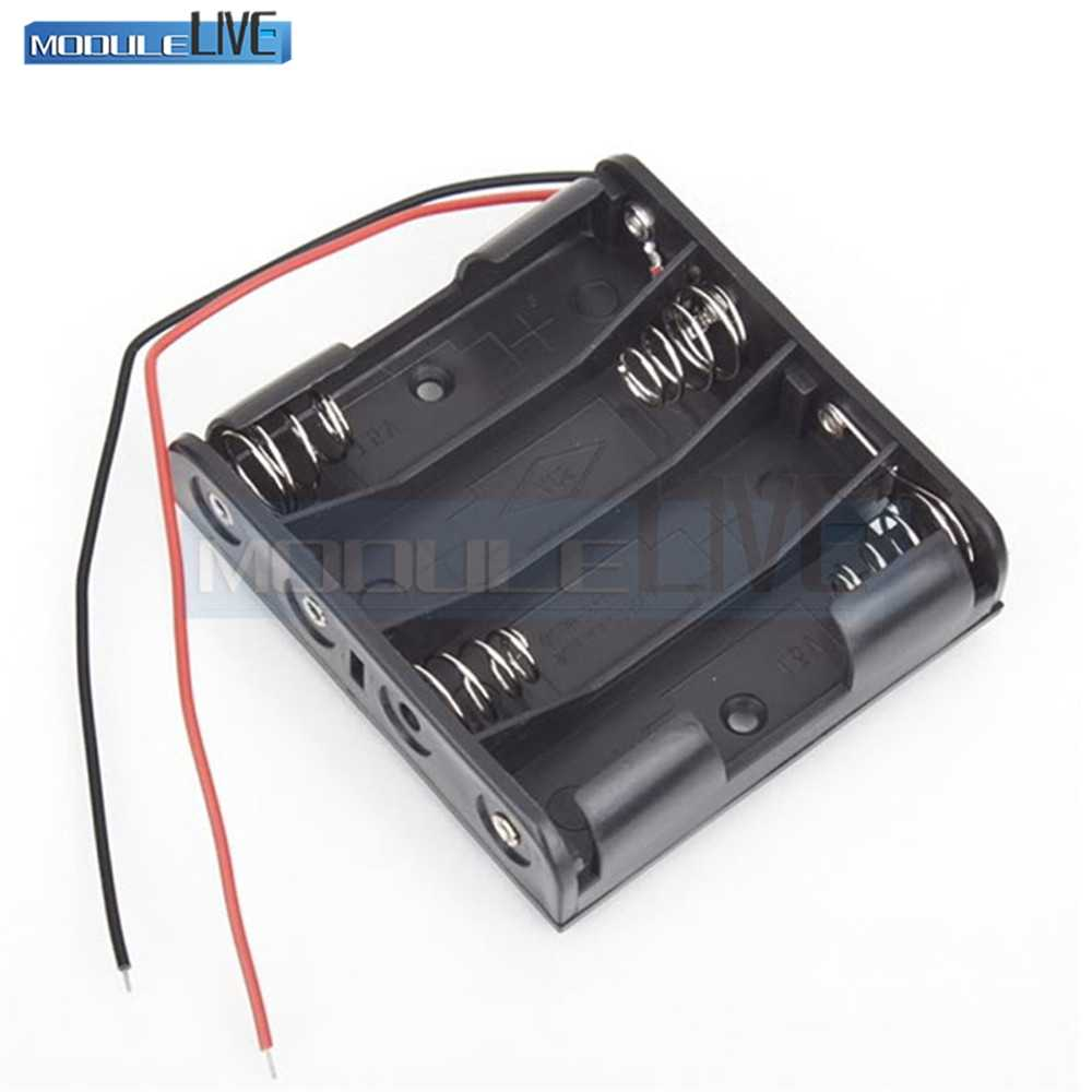 """Battery Storage Case Plastic 4 x AA Box Holder Black With 6\"""" Wire Leads"""