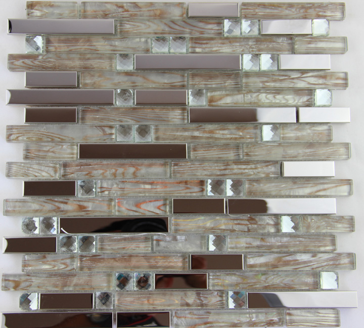 Stainless Steel Metal Mosaic Glass Tile Kitchen Backsplash Bathroom Shower Background Decorative Wallpaper Tile Factory Sale