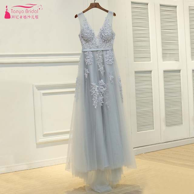 c56523172dd placeholder Navy Blue Pink Grey V Neck Long Lace Appliques Prom Dresses  Tulle A Line Gray Red