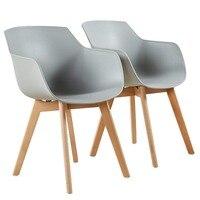 EGGREE набор из 2 современная конструкция Dinging стул скандинавский кресло пластик, и массивные деревянные ноги черный