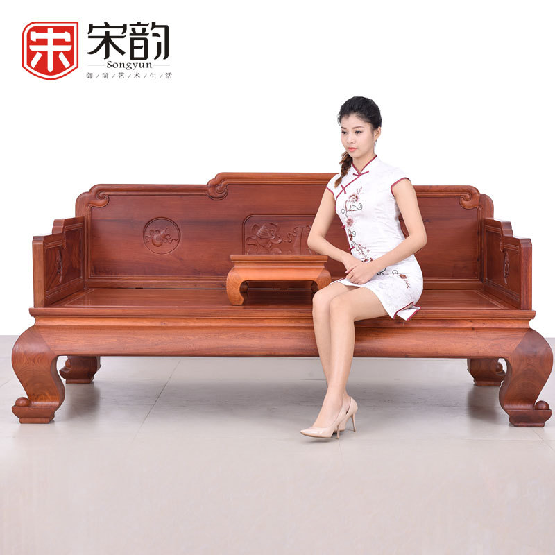 Rosewood Rosewood Arhat Bed Hand Carved Couchs Wood Antique Luxury Classical Burma Burma Pear Flower