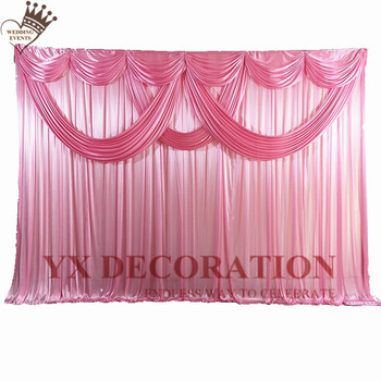 10ft 20ft Wedding Backdrop Curtain With Swag Drape Valence Ice Silk Stage Background Photo Booth Event Party Decoration