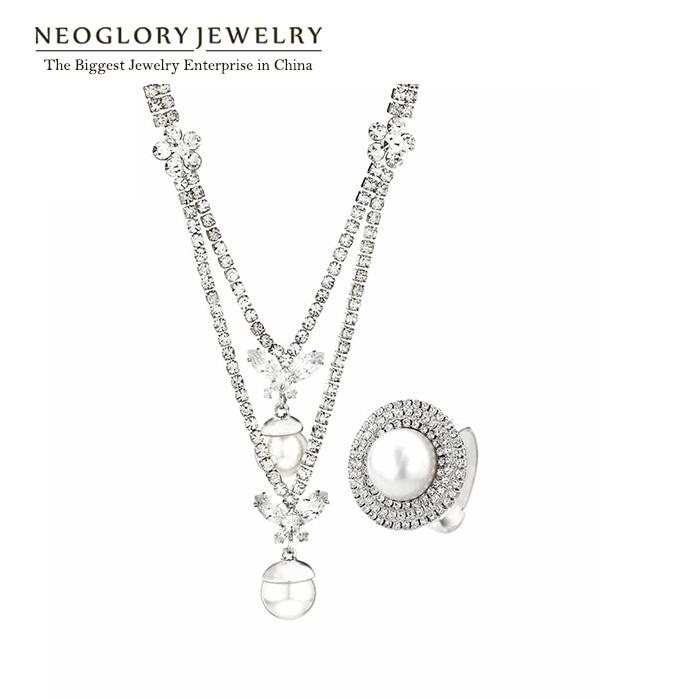 Neoglory Jewelry-Sets Rhinestone Pearl Wedding-Engagement Fashion Women for Simulated