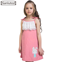 Sanlutoz Summer Lace Dress For Girls Cotton Bunny Children Clothing Pink Kids Dress Brand Princess Party Wedding Toddler 2017