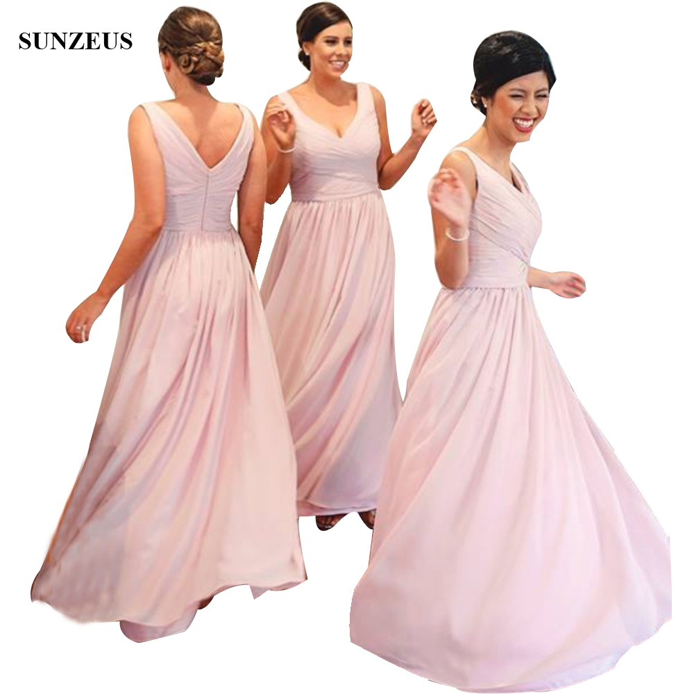 Beautiful Pink   Bridesmaid     Dress   Long Chiffon Party   Dresses   A-line V-neck Tank Wedding Guest Gowns With Pleats BDS014