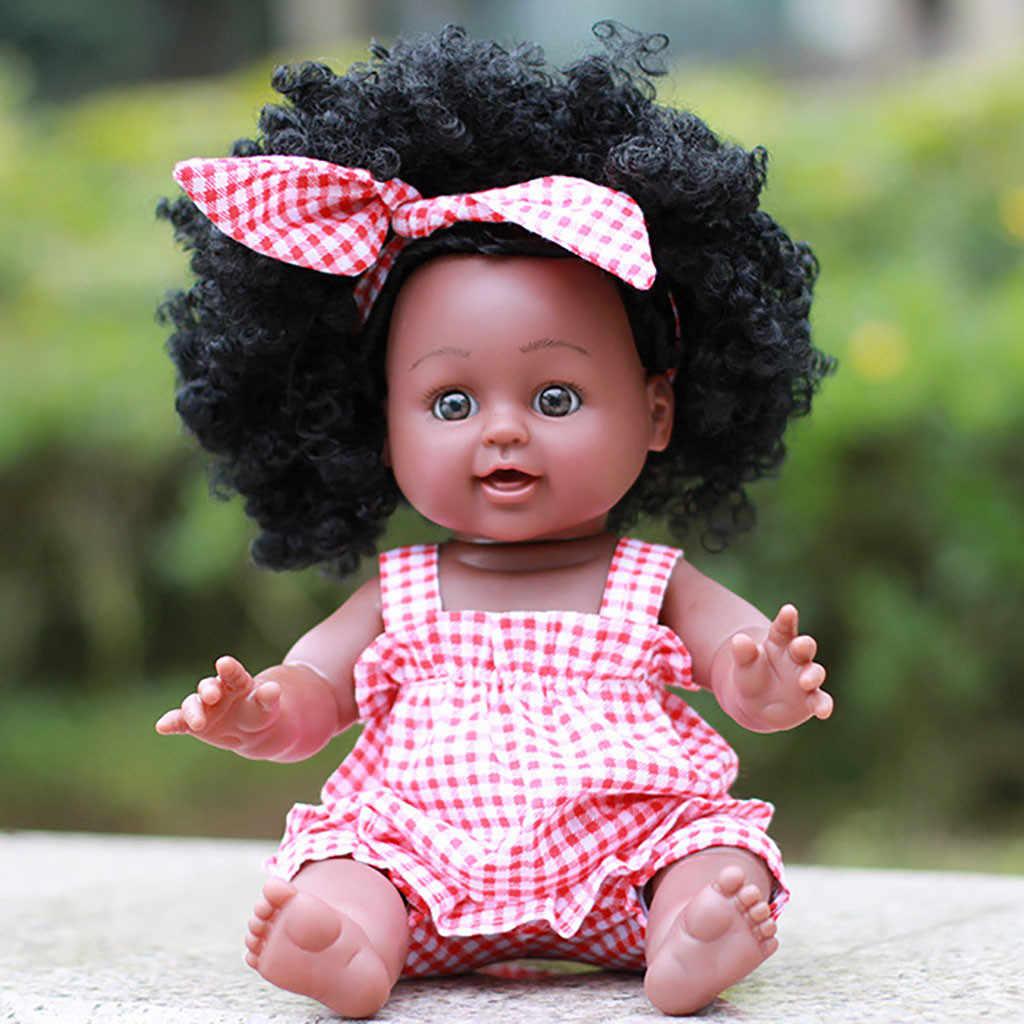 Heißer verkauf Mode Kleidung Puppe Kleidung Schwarz Mädchen Puppen African American Spielen Puppen Lebensechte 35cm Baby Spielen Puppen lol silikon