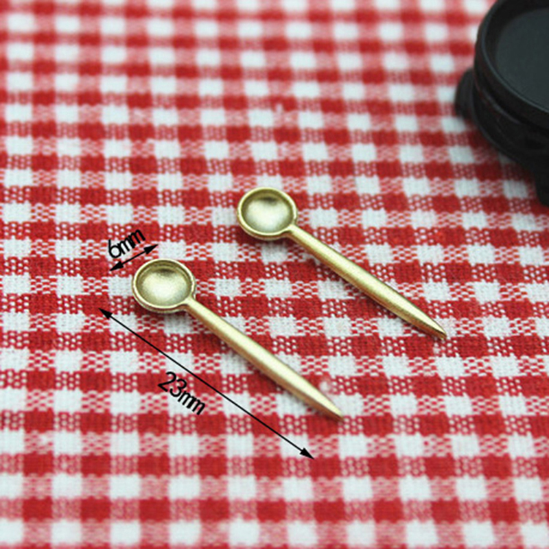 1Pcs 1/12 Toolsfor Alloy Mini Kitchen Spoon Simulation Doll House Decoration Model Toys  Dollhouse Miniature Accessories
