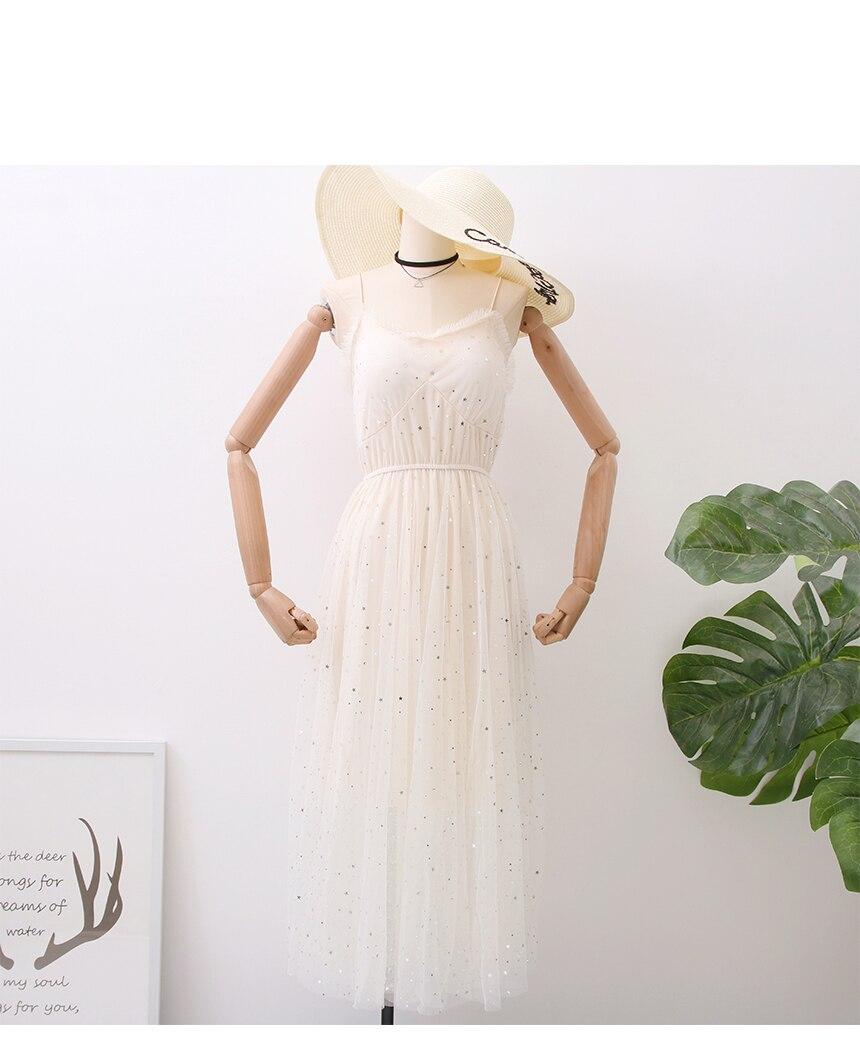 Sweet Mesh Spaghetti Strap Star Sequins Dress 10