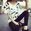 Lady T shirt Women Hello Kitty Feather Print Pattern T-shirt Tee Top ropa mujer vetement femme