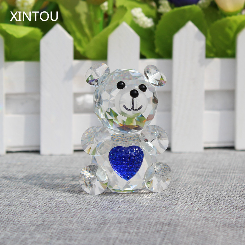teddy bear glass figurines Asian