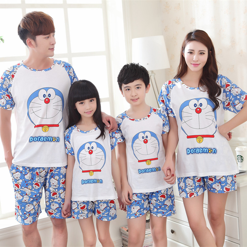 Doraemon family cotton pajamas matching clothes father mother daughter son mommy me clothes couple family look women wear set 67