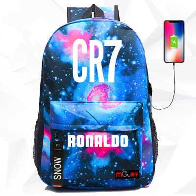 Ol Cr7 Cristiano Ronaldo Backpack Shoulder Travel School Bag For Teenagers Casual With Usb Charging Port Laptop Bags