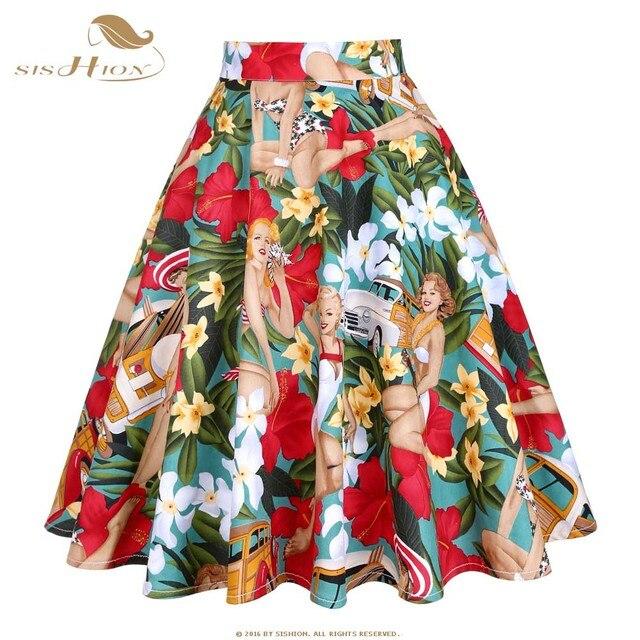 SISHION Cotton Floral Car Beauty Print High Waist Skirts Womens 2018 Retro  Vintage Skirt Elegant A dede4e2427e7