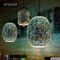 Креативный Блестящий светодиодный 3D бар подвесной светильник фейерверк красочный стеклянный шар подвесной светильник для ресторана отеля...