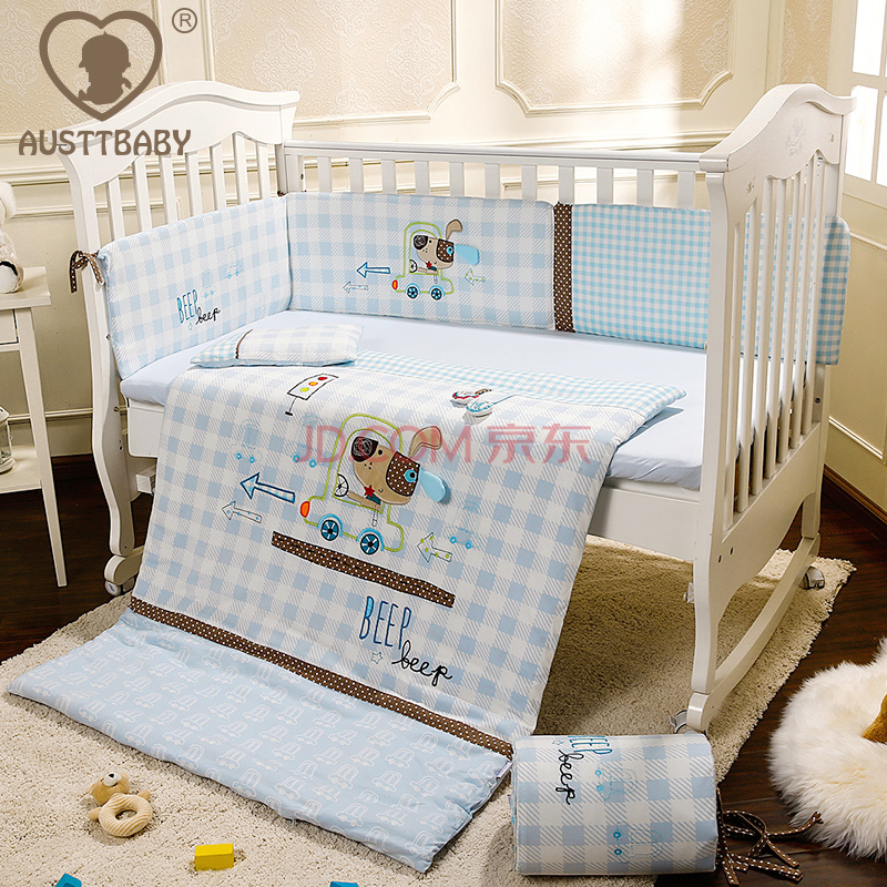 Cot Bedding Set Baby Crib Embroidery Light Blue Cartoon Dog Cotton Quilt Pillow Per Bed Sheet 5 Item In Sets From Mother
