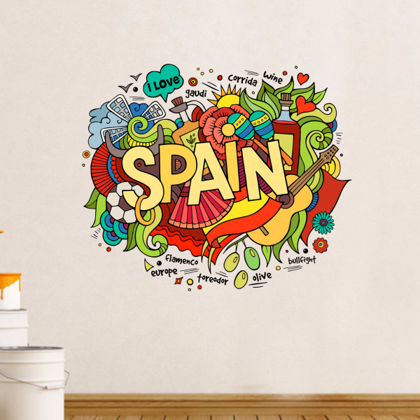Spain Illustration Travel The Word Landmark Wall Sticker Wedding Decor Vinyl Waterproof Wallpaper