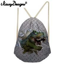 NOISYDESIGNS 3D animals dinosaur Printing Drawstring Backpack for man Portable Bags cool Storage Pouch for TeenageBoys