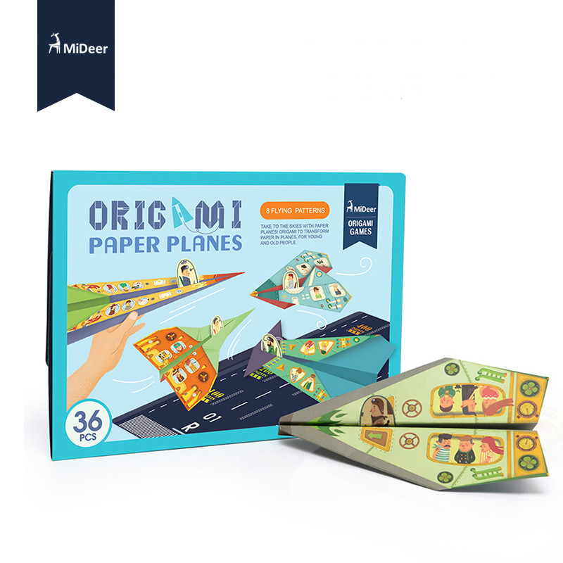 Mideer 36pcs Origami Airplanes Kids Easy Colorful Paper Aircraft Educational Play Diy Game Gift Fold And Fly Toys For Children Toys & Hobbies