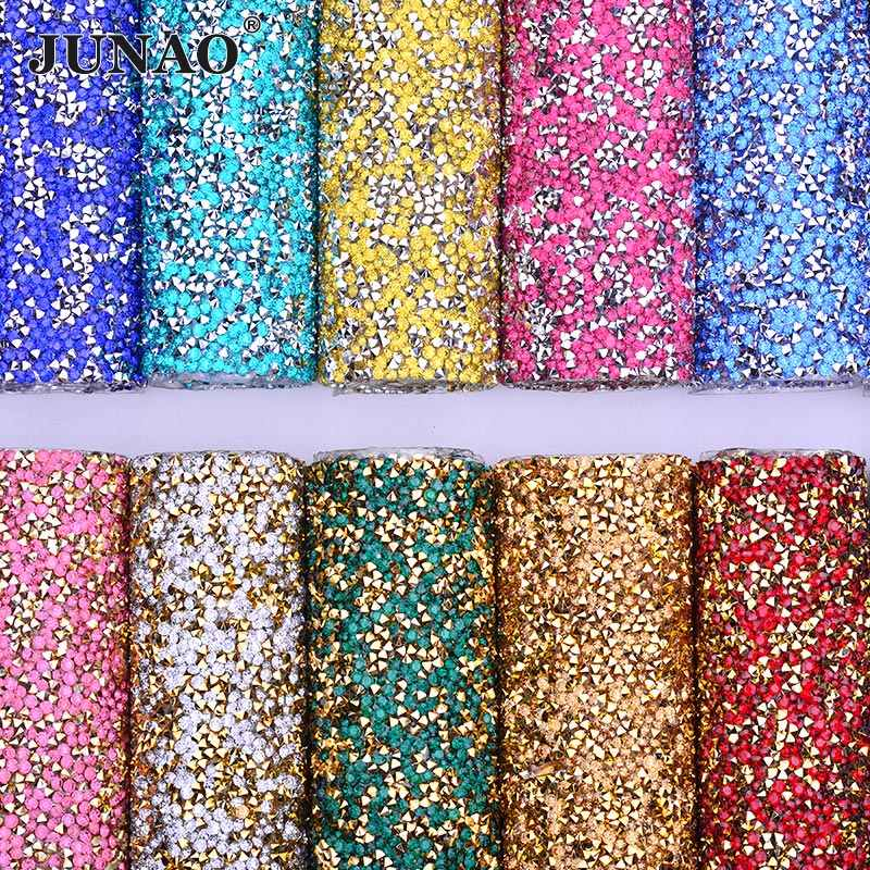 9a3f0eeea0 JUNAO 24x40cm Mix Color Crystal Fabric Hotfix Rhinestones Mesh Trim Resin  Strass Crystal Applique Hot Fix Stones for Clothes Bag