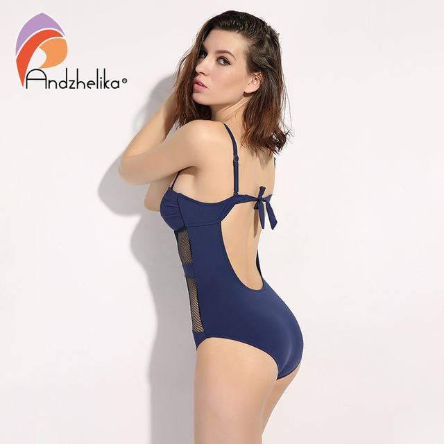 Andzhelika 2017 Newest One Piece Swimsuit Women Sexy Mesh Swimwear Hollow Out Bodysuit Bathing Suit Monokini Beach Swimming Suit