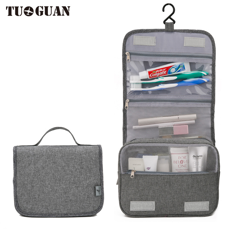 TUGUAN Waterproof Travel Men Cosmetic Cases Hanging Toiletry Women Make up Bag Portable Makeup Organizer Wash Pouch Bags Gray цена