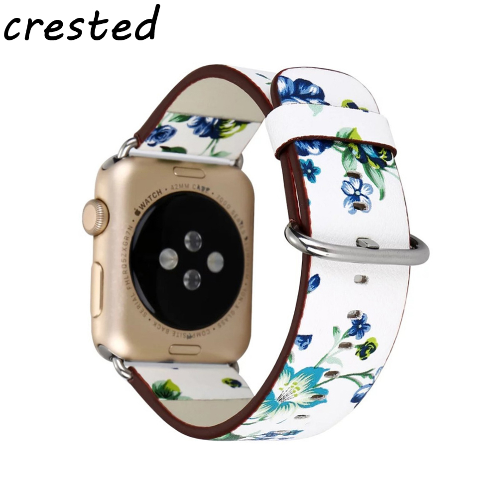 CRESTED Floral Printed Leather Watch Band Strap for Apple Watch 42 mm 38 mml Flower Design Wrist Watch Bracelet for iwatch 1/2/3 crested leather strap for apple watch band 42 mm 38 mm watch accessories strap band wrist watch bracelet for iwatch series 3 2 1