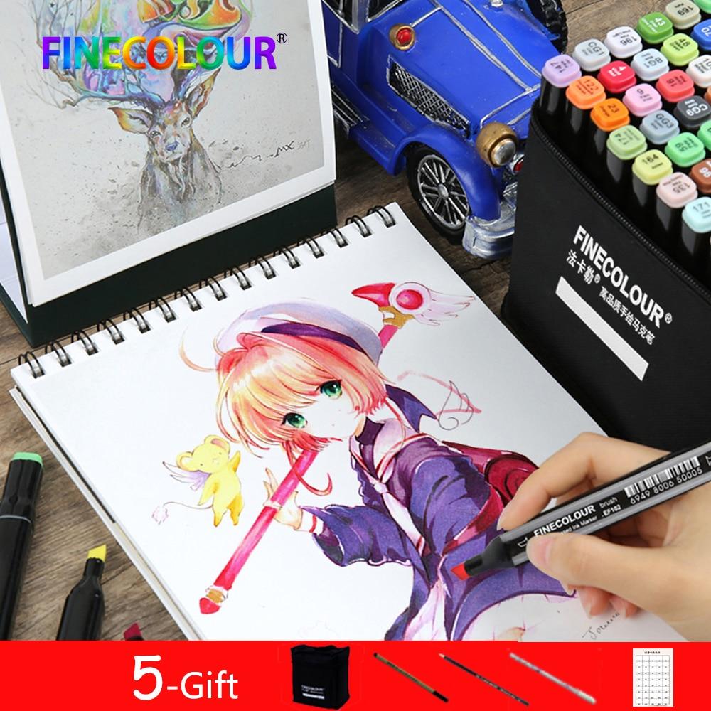 Ofis ve Okul Malzemeleri'ten Sanat Kalemleri'de 480 Renkler Finecolour Profesyonel Sanat Markers Kalem Sanatçı Çift Kafa Kalıcı İşaretleyiciler Kroki Seti Yumuşak Fırça Kalem Çizim
