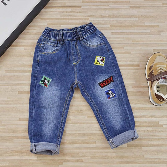 3929ce0c6 Children Boys Girls Ripped Jeans Cartoon Print Kids Denim Trousers Toddler  Mickey Fashion Toddler Pants for Winter Autumn SA114