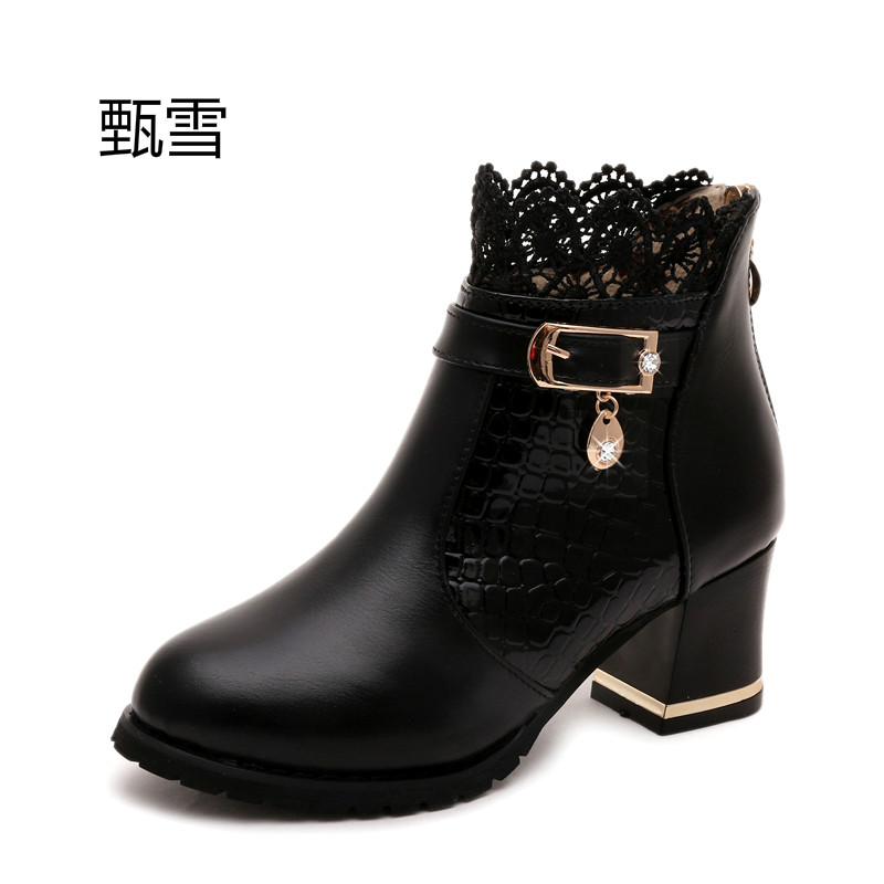 top Female Metal Buckle Zip Plaid Lace Chunky Boots 2017 Women's Fashion Comfortable Black Brand Autumn Shoes